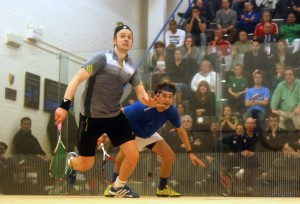 Eyes on the prize: Willstrop and Pilley battle in the quarter-finals. Picture by STEVE CUBBINS