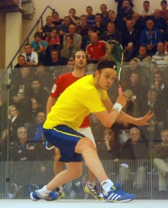 James Willstrop overcomes Simon Rosner after the match was moved indoors. Pictures by STEVE CUBBINS