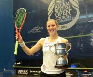 CHAMPION! A delighted Laura Massaro wins the Allam British Open. Pictures by STEVE CUBBINS courtesy of www.squashsite.co.uk