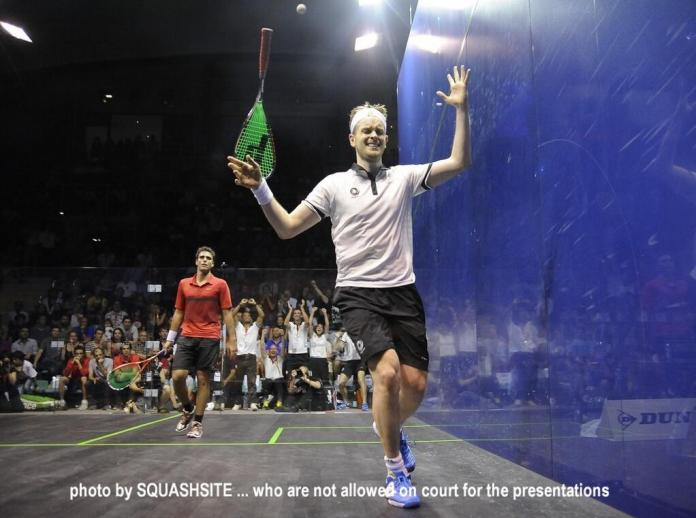 The moment of victory as James Willstrop beats Karim Darwish. Picture by STEVE CUBBINS  of www.squashsite.co.uk