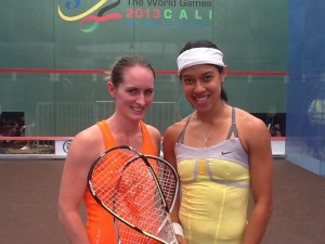 Nicol David and Natalie Grinham (left)