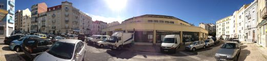 Panoramic view of a street in Lisbon