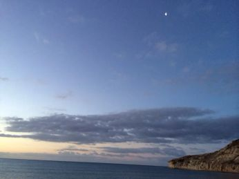 Amazing sky, and the moon is still out in the morning