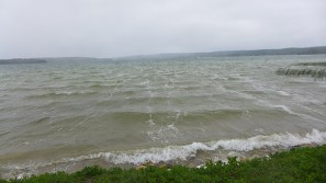 misty and cold Crooked Lake