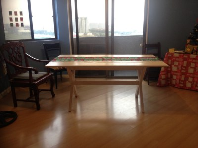 The day we got our dining table. Our dining area took up half of our apartment.