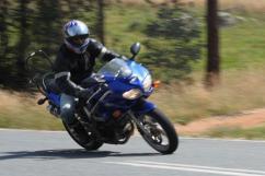 Luke Pirotta (not really trying!) on Leno's SV650, 2011 Rally