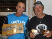 Luke Pirotta (Best Modified SR) and Rob Rode (Best Stock SR), and their trophies, Bethanga 2015