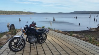 Brendan's SR500 and Gary's CB500 at Tooms Lake.