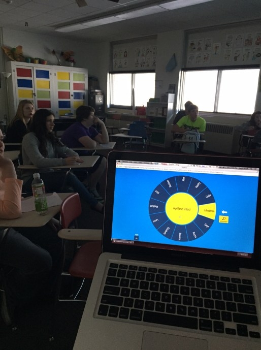 A question is chosen and randomly assigned to a student. The spinning wheel hypnotizes students.