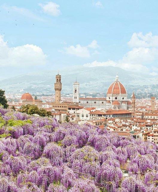 Il più bel panorama di Firenze in primavera? Di certo da Villa Bardini col glicine in fiore!