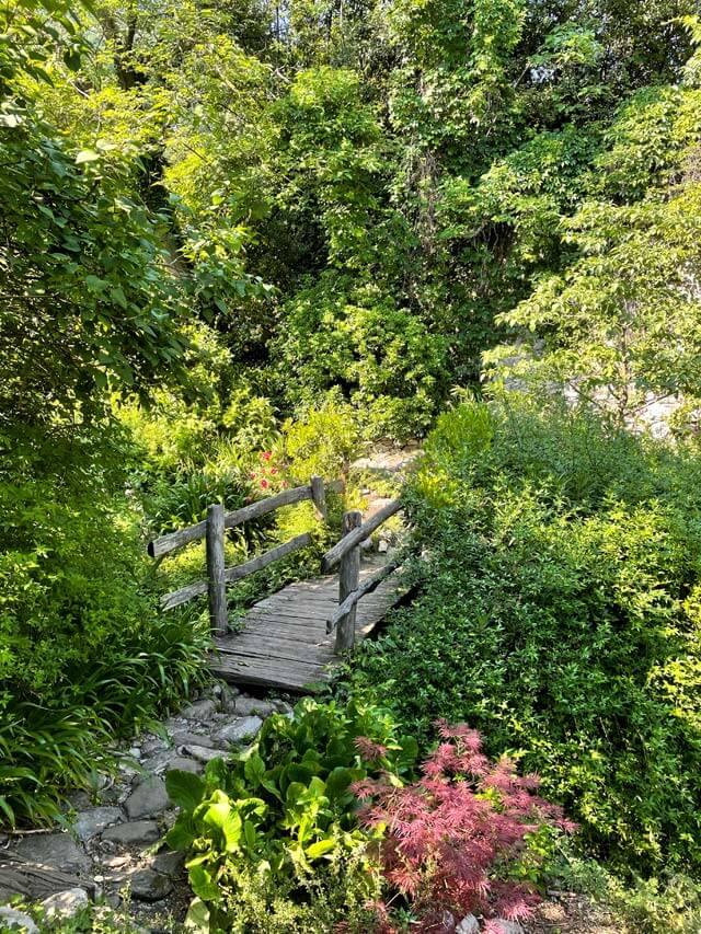 Ponte di legno nel Giardino della Valle a Cernobbio
