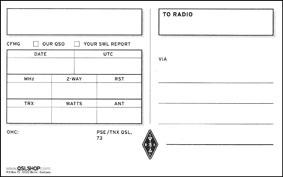 QSL-kortin taustapuoli.