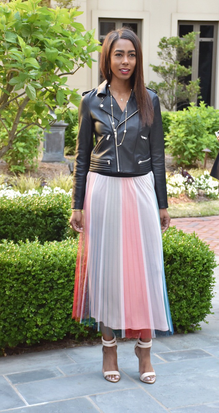 moto jacket and pleated skirt from Maje