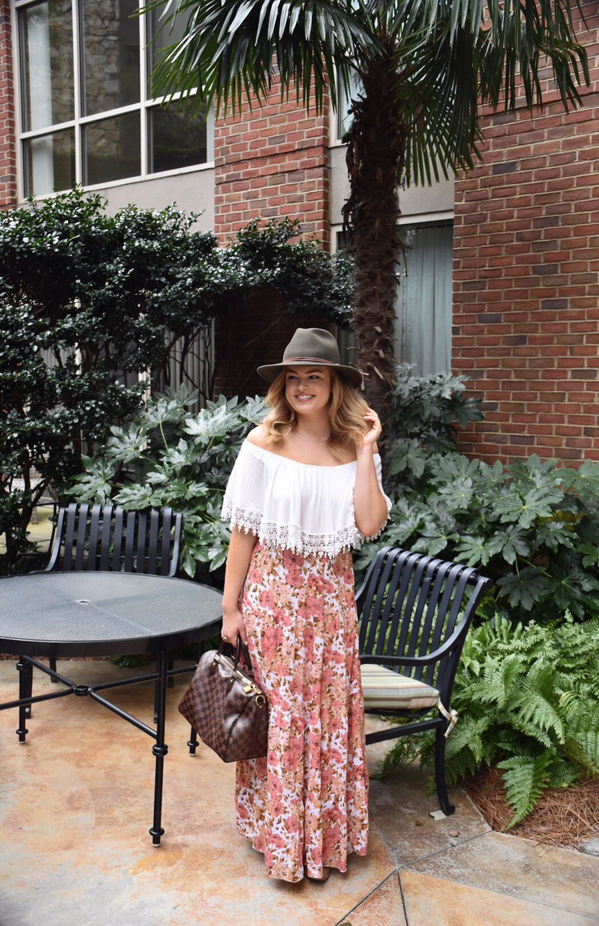 White off the shoulder top and floral skirt