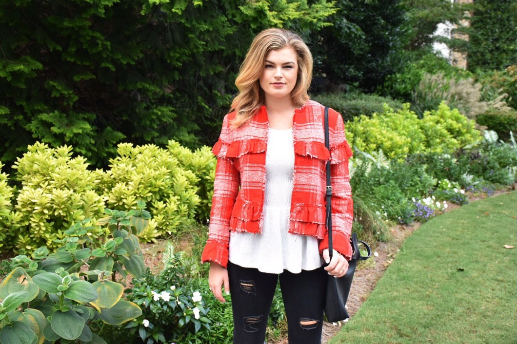 Red tweed blazer & ripped jeans