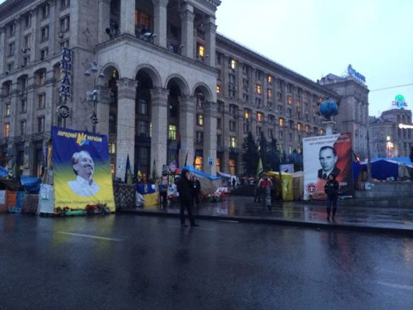 Posters of Viacheslav Chornovil (left) and Stepan Bandera (right) in central Kyiv