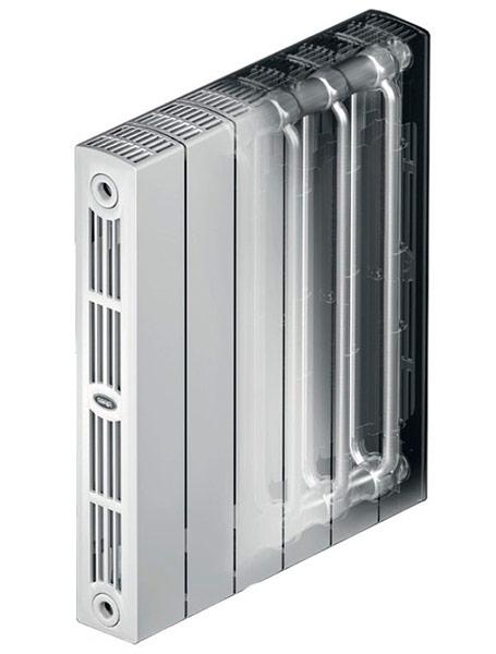 монолитный биметаллический радиатор в разрезе