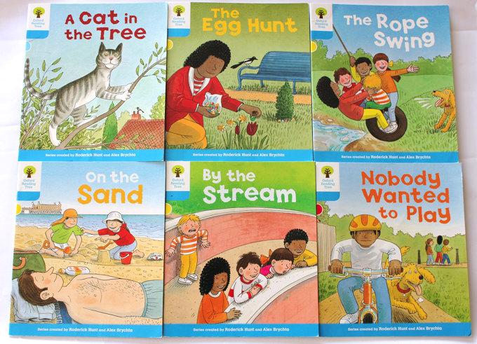 イギリスの80%以上の小学校で採用されている「国語」の教科書、ORT(Oxford Reading Tree)。ORTリーディングコースでは、英語圏の子供たちと同じようにリーディングを学んでいきます。