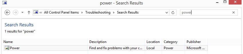 Use Windows Power Troubleshooting 2