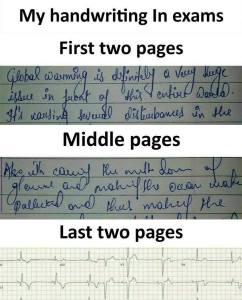 My handwring in Exams - Funny Sarcasm Status