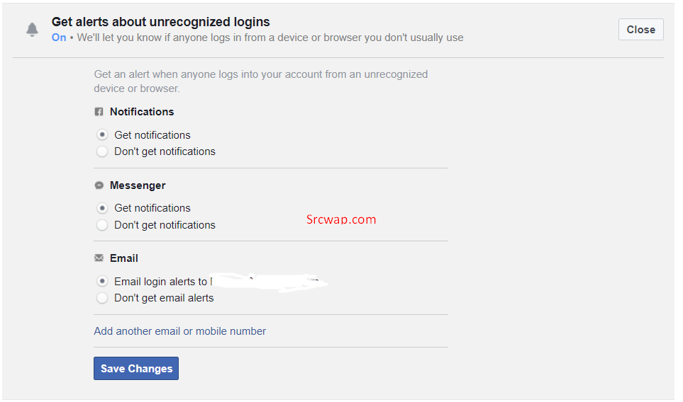 Get alerts about unrecognized logins on FB