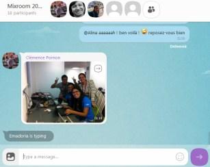 Un échange de messages et photos sur Viber