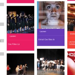 Capture d'écran de l'interface sur le web avec les mots clés et catégories