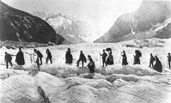 Victorian travellers on the Chamonix Glacier in the Savoy Alps, France, 1867