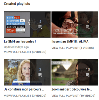 Capture d'écran de quatre playlists Youtube