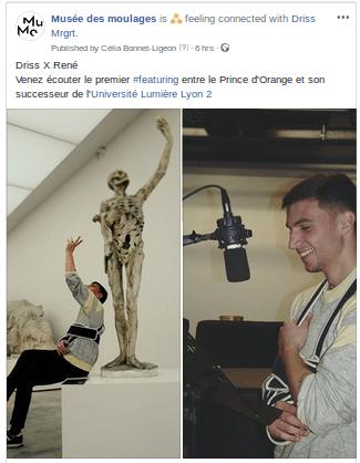 Post Facebook publié pendant la séance d'enregistrement