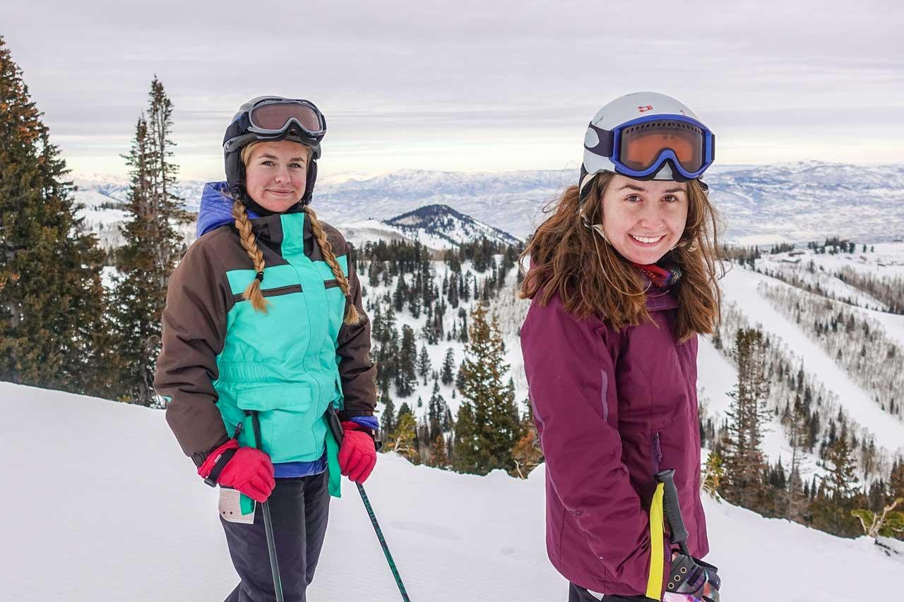 Young Women Skiing