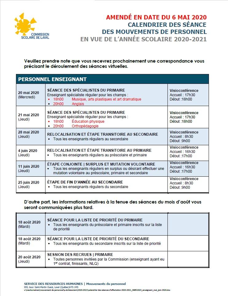 Version Covid 19 : 4 mai 2020 – ÉCHÉANCIER 2020 2021 – Secteur des
