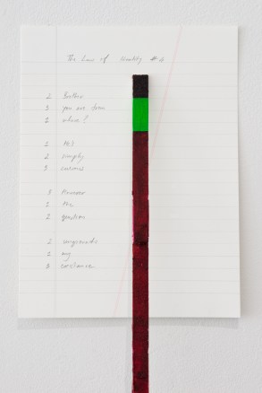 The Law of Identity #4, 2017, Rose Pigment, Chroma Key Paint, Ruler, Pencil on Paper