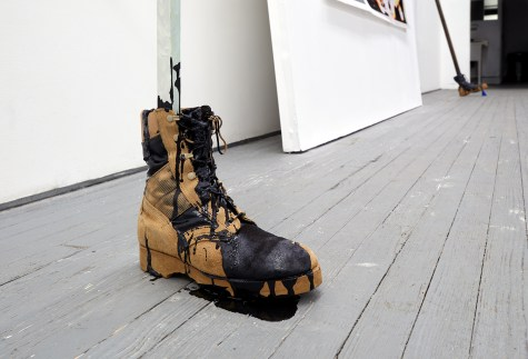 "Prop 2018 Gouache on Aluminum, Tar, US Military Boot 48"" x 24"" x 30"""