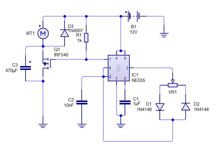 NE555 based PWM DC Motor Speed Controller Circuit with PCB Layout