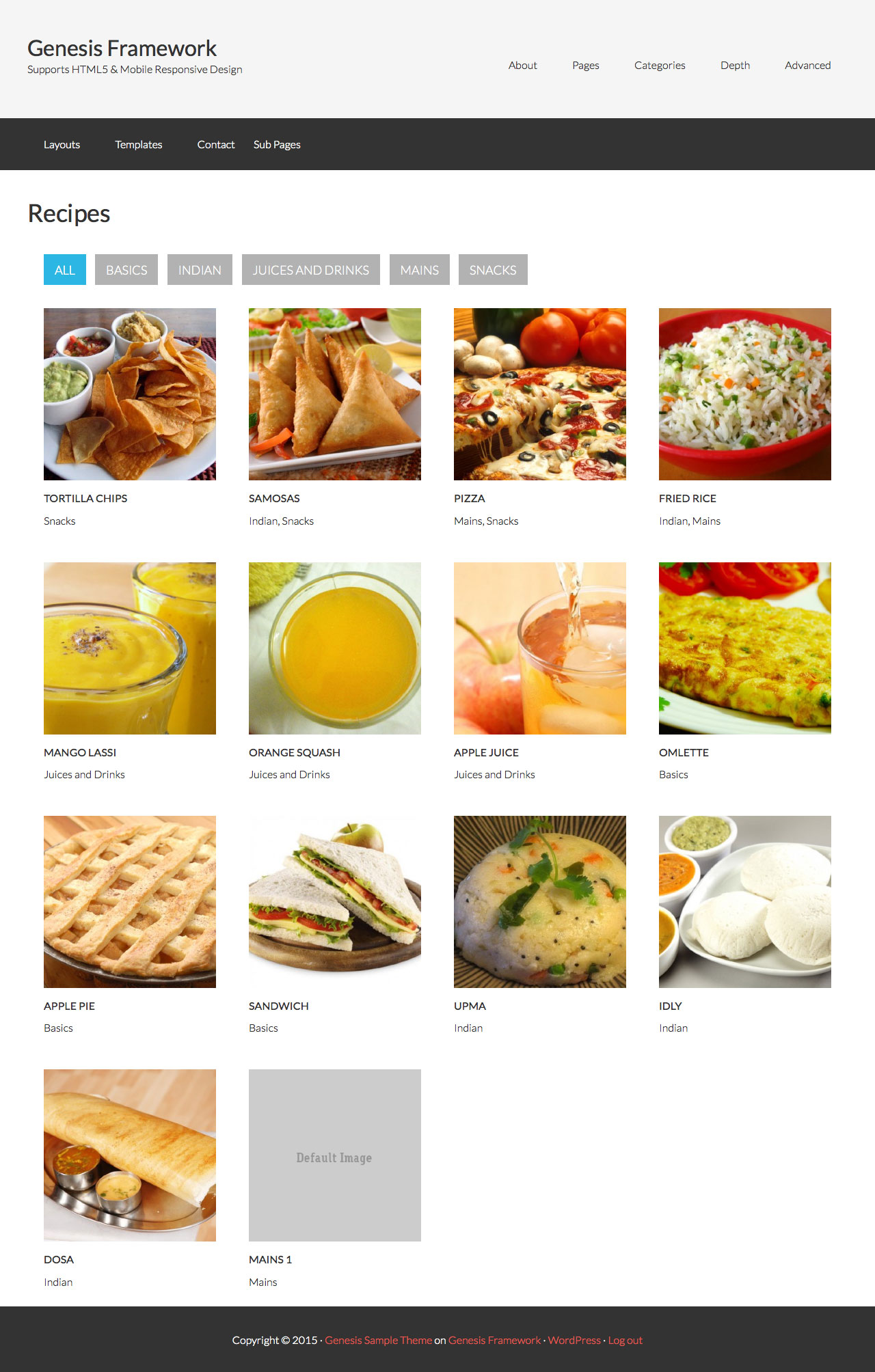 Page template for displaying posts grid in genesis filterable by sub filterable recipes forumfinder Images