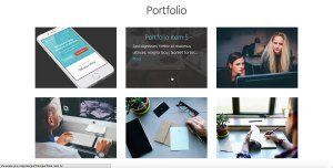 Portfolio Grid on Showcase Pro's Front Page with Title and Excerpt on Hover