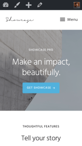 How to show the text MENU next to hamburger icon in Showcase Pro