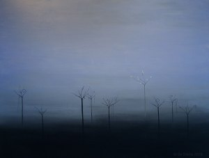 painting of trees in the mist