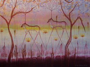 painting of mythical creatures in a forest