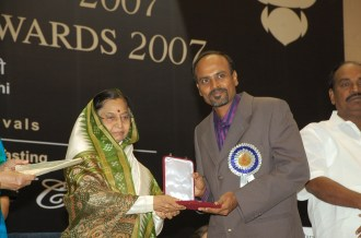 Receiving Indian National Award from The President of India