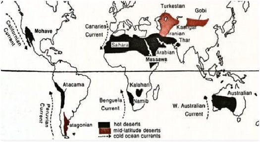 distribution of hot deserts