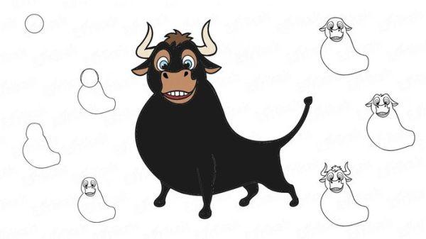 Картинки быка на новый 2021 год для срисовки