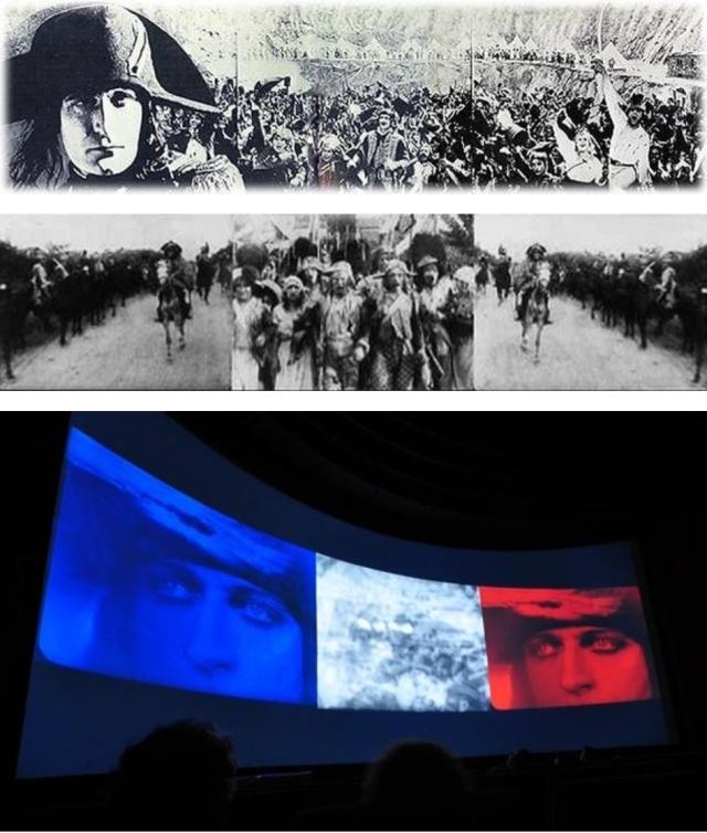 """""""הטריפטיך"""" ב""""נפוליאון"""": 1. תמונה אחת רחבה; 2. שלוש תמונות צמודות; 3. הטריקולור"""