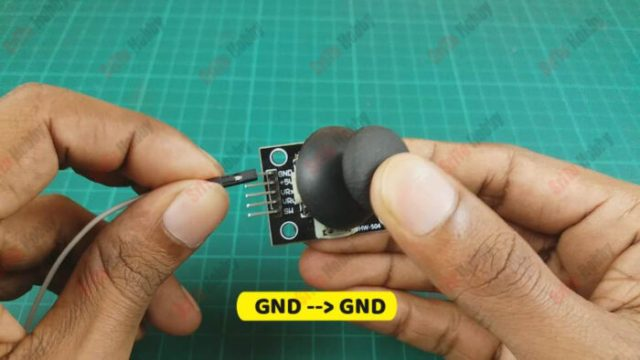 Then, connect the joystick module to the motor driver shield. To do this, use the circuit diagram above.