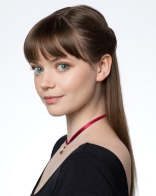 Headshot of Actress with Blue Eyes