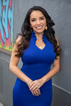 Realtor Headshot in Blue Dress