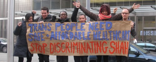 SRLP and allies demand safe and affordable health care for trans people at NY Population Health Summit.
