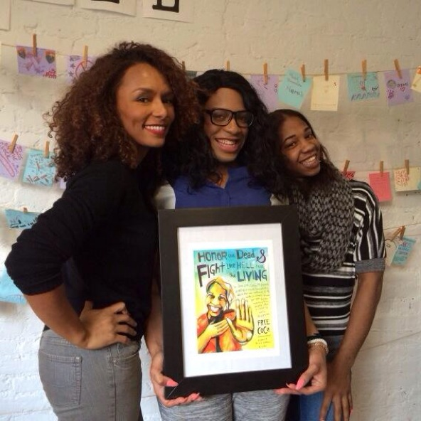 Janet, CeCe and Rai'vyn with Micah Bazant's art!