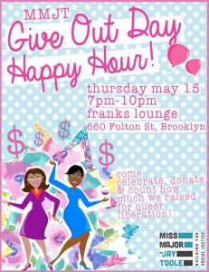MMJT Give OUT Day happy hour